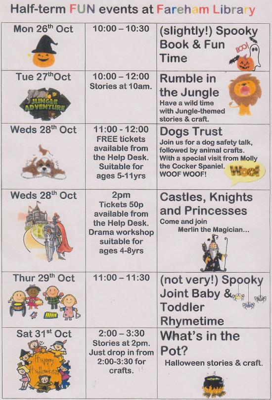 Fareham Library Half Term Fun Events Oct 2015