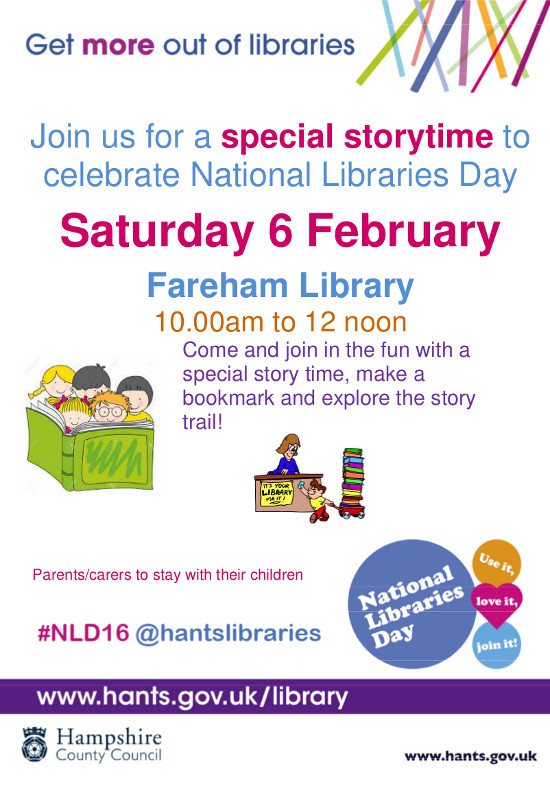 National Libraries Day Story Time fareham Library 6th Feb 2016