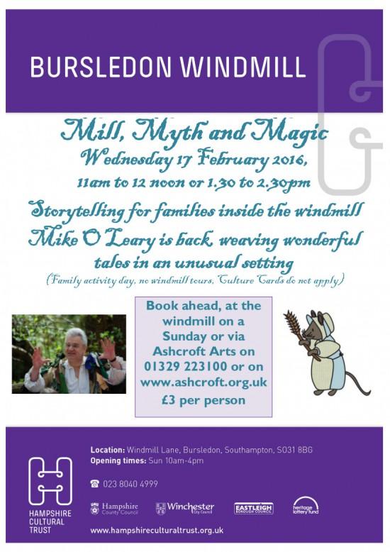 Bursledon Windmill StoryTeller Mill Myth and Magic 17th February
